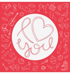 Love circle frame with icons for valentines day vector