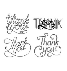 Set of thank you hand lettering phrases vector