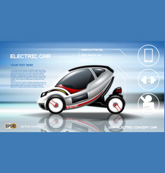 Realistic 3d electric car infographic concept vector