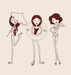 Fashion girls in bikini vector