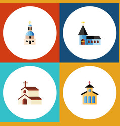 Flat icon christian set of christian catholic vector