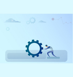 Business man pushing cogwheel brainstorming vector