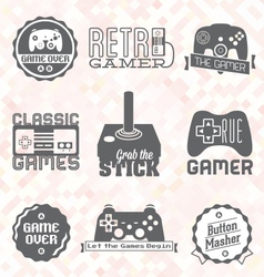 Retro video game shop labels vector