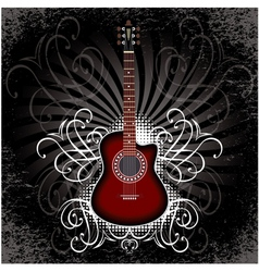 Banner with acoustic guitar on black background vector