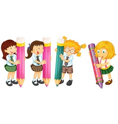 Students and pencils vector image