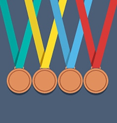 Many bronze medals with colorful ribbon vector