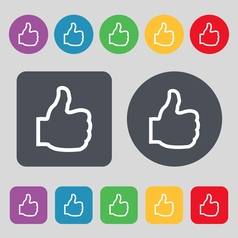 Like icon sign a set of 12 colored buttons flat vector