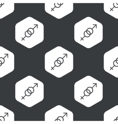 Black hexagon gender signs pattern vector