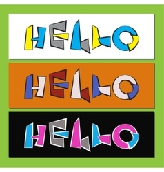 Hello - stylized color text vector