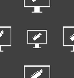 Usb flash drive and monitor sign icon video game vector