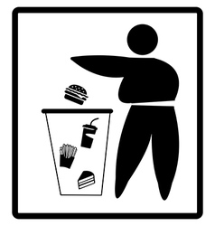 Fat person drops junk food on the bin diet concept vector