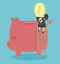 Concept business woman saving money vector