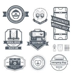 Medical label template set emblem element for vector