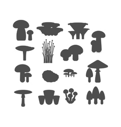Mushrooms black silhouette set vector