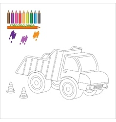 Coloring page with big truck vector