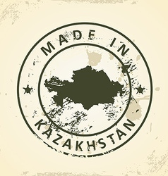 Stamp with map of kazakhstan vector