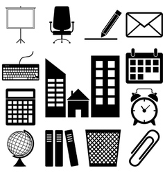 Office accessories icons set flar style vector