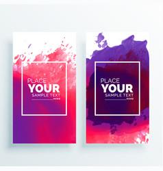 Banner with watercolor splash set vector