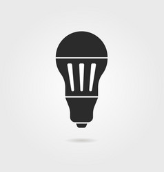 Black led bulb icon with shadow vector