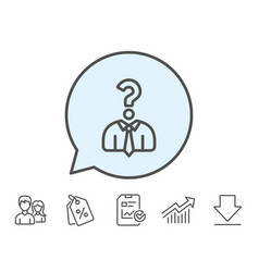 Business head hunting line icon question sign vector