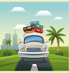 car different luggage travel road landscape city vector image