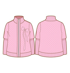 cute pink quilted jacket with zipper closure vector image vector image