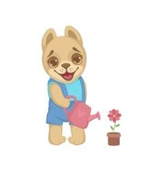 Cute puppy watering flowers vector