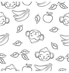 doodle of monkey and banana vector image