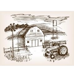 Farm landscape sketch vector image