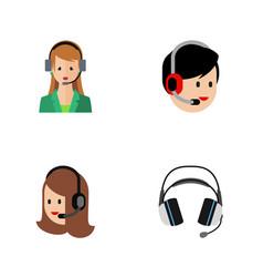 flat center set of service earphone secretary vector image