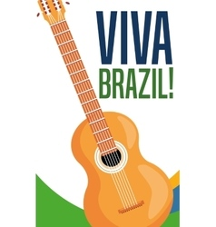 Guitar instrument of brazil design vector