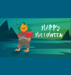 happy halloween banner jack lantern trick or treat vector image vector image