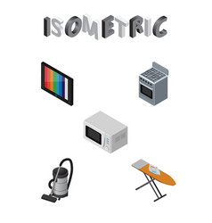 Isometric technology set of cloth iron microwave vector