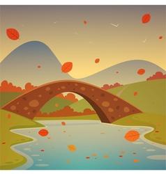 Landscape with bridge vector image