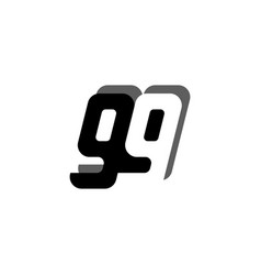 Logo 99 number black white negative space bold vector