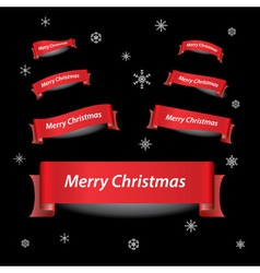 merry christmas red ribbon banners eps10 vector image vector image
