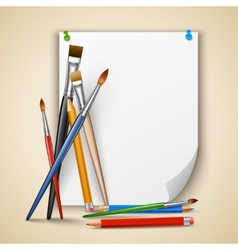 Paint brush and paper vector image vector image