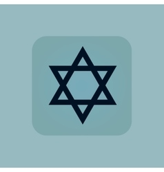 Pale blue star david icon vector