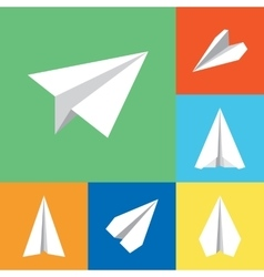 Paper origami plane flat icons set vector