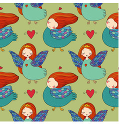 Pattern with girl sirin vector