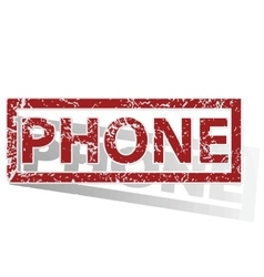 Phone outlined stamp vector