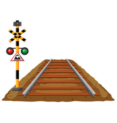 Railroad and traffic light for train vector
