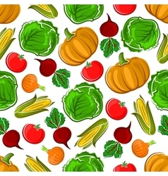 Ripe autumnal veggies seamless pattern vector