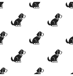 Sitting dog icon in black style for web vector