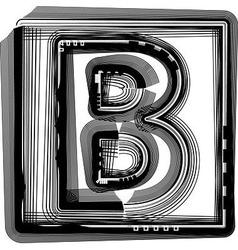 Striped font letter b vector