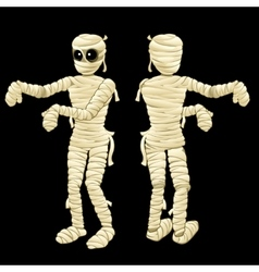 Two cute mummy with hands on a black background vector image
