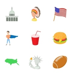 USA country icons set cartoon style vector image
