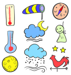 Weather theme style doodles vector