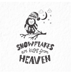 Winter postcard with quotes and phrases funny owl vector