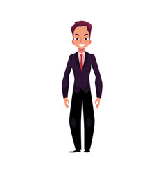 Young businessman standing talking by mobile vector